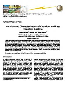 Isolation and Characterization of Cadmium and Lead Resistant Bacteria