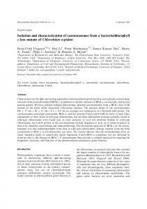 Isolation and characterization of carotenosomes from a ...