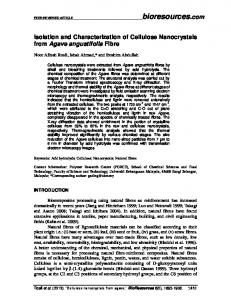 Isolation and Characterization of Cellulose ... - BioResources