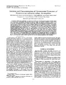 Isolation and characterization of chromosomal promoters of ...