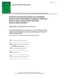 Isolation and characterization of endophytic bacteria