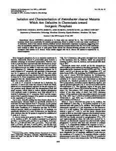 Isolation and Characterization of Enterobacter cloacae Mutants Which ...