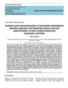 Isolation and characterization of extremely halotolerant Bacillus