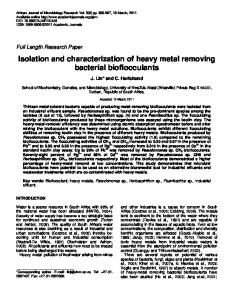 Isolation and characterization of heavy metal ... - Academic Journals