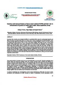 Isolation and characterization of heavy metal resistant PGPR and their