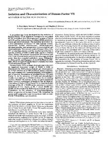 Isolation and Characterization of Human Factor VI1 - The Journal of ...