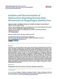 Isolation and characterization of hydrocarbon-degrading bacteria from ...