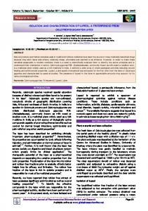 ISOLATION AND CHARACTERIZATION OF LUPEOL, A ...