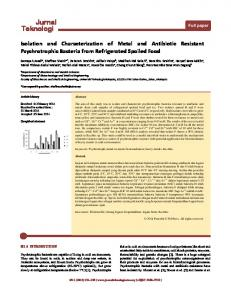Isolation and Characterization of Metal and Antibiotic Resistant ...