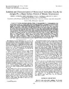 Isolation and characterization of monoclonal antibodies specific for ...