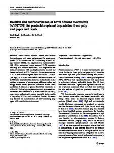 Isolation and characterization of novel Serratia marcescens ...