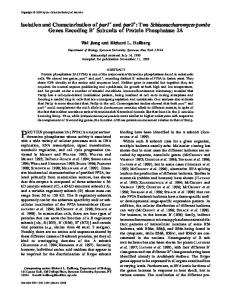 Isolation and Characterization of par1 and par2: Two ...