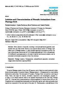 Isolation and Characterization of Phenolic Antioxidants ... - CiteSeerX