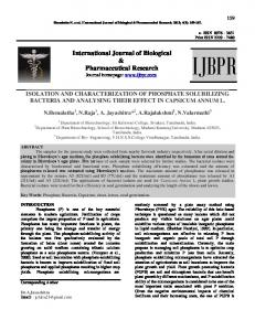 isolation and characterization of phosphate ...