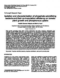 Isolation and characterization of phosphate ... - Academic Journals
