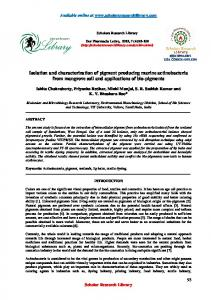 Isolation and characterization of pigment producing marine ...