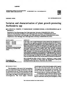 Isolation and characterization of plant growth ...