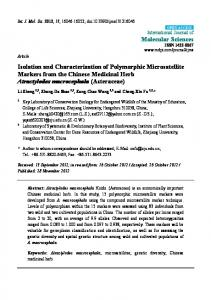 Isolation and Characterization of Polymorphic Microsatellite Markers