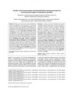 Isolation and Characterization of Potential Phytase ... - SciELO Colombia
