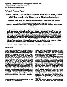 Isolation and characterization of Pseudomonas ... - Academic Journals
