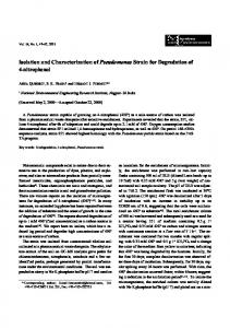 Isolation and Characterization of Pseudomonas Strain for Degradation ...