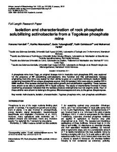 Isolation and characterization of rock phosphate ... - Academic Journals