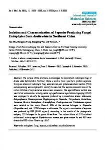 Isolation and Characterization of Saponin-Producing ... - CiteSeerX