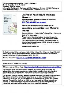 Isolation and characterization of secondary metabolites from Plumeria
