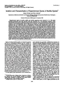 Isolation and Characterization of Superdormant Spores of Bacillus ...