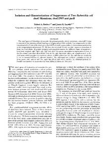 Isolation and Characterization of Suppressors of Two ...