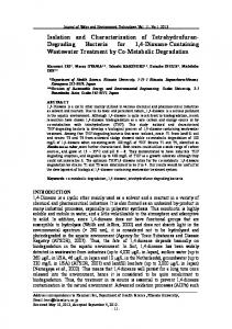 Isolation and Characterization of Tetrahydrofuran-Degrading Bacteria ...
