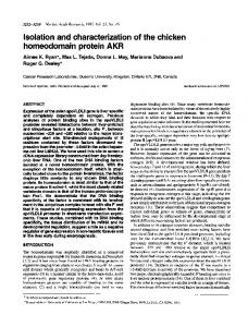 Isolation and characterization of the chicken ... - BioMedSearch