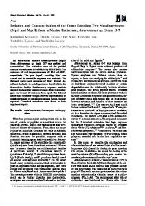Isolation and Characterization of the Genes Encoding Two ...