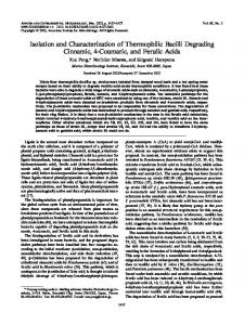Isolation and Characterization of Thermophilic Bacilli Degrading ...
