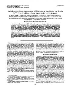 Isolation and complementation of mutants of Anabaena sp. strain PCC ...