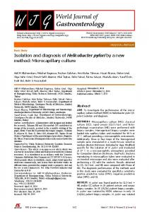 Isolation and diagnosis of Helicobacter pylori by a ...