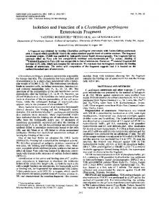 Isolation and Function of a Clostridium perfringens - Infection and ...