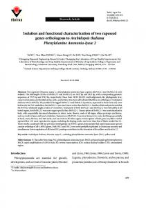 Isolation and functional characterization of two ... - Tubitak Journals