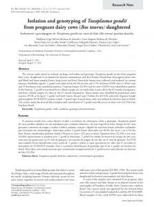 Isolation and genotyping of Toxoplasma gondii from pregnant dairy ...