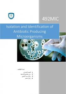Isolation and Identification of Antibiotic Producing Microorganisms