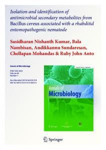 Isolation and identification of antimicrobial secondary