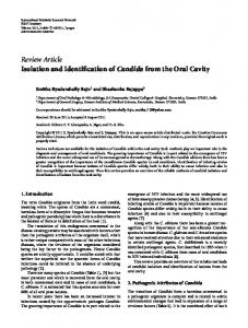 Isolation and Identification of Candida from the Oral Cavity