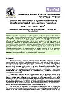 Isolation and identification of cypermethrin degrading Serratia ...