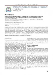 isolation and identification of petrol degrading microorganisms from ...