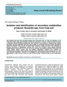 Isolation and identification of secondary metabolites ...