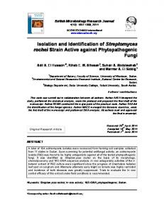 Isolation and Identification of Streptomyces rochei ... - Journal Repository
