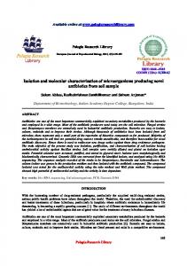 Isolation and molecular characterization of microorganisms - iMedpub