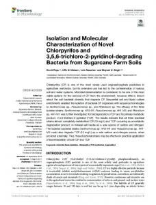 Isolation and Molecular Characterization of Novel Chlorpyrifos and 3 ...