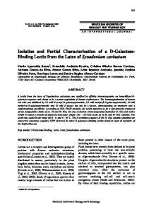 Isolation and Partial Characterization of a D-Galactose ... - SciELO