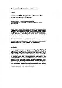 Isolation and PCR Amplification of Genomic DNA from ... - Springer Link